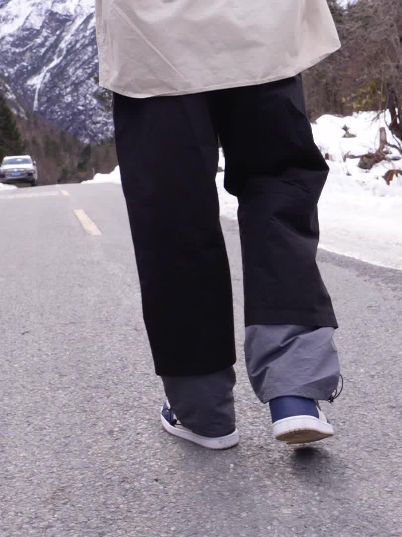 Guuka潮牌假两件抽绳束脚裤试穿视频