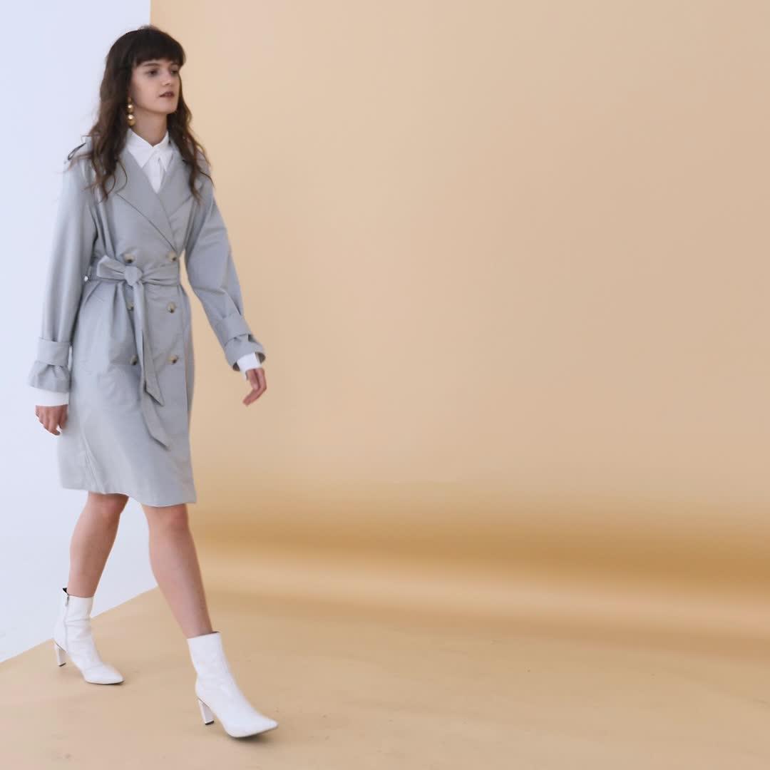 UR2020春季新品女装时尚双排扣绑带翻领风衣WE39S1DE2002