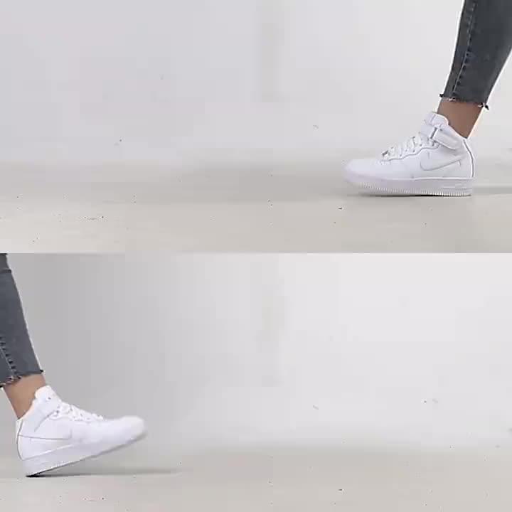 NIKE耐克AIR FORCE 1 MID (GS) 空军一号 经典板鞋全白女鞋运动鞋