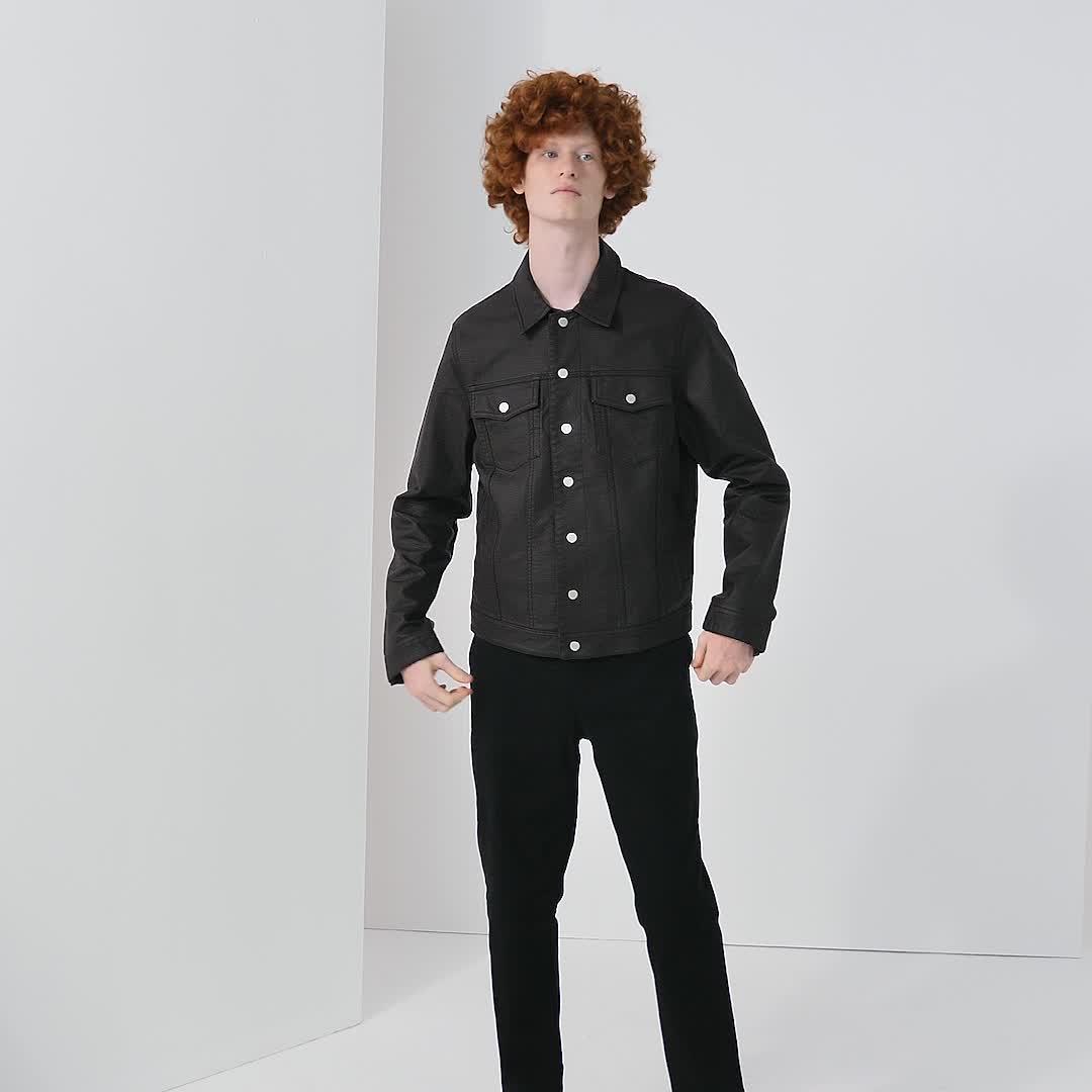 UR2020春季新品男装帅气纽扣饰翻领皮质夹克MF01S1HN2000