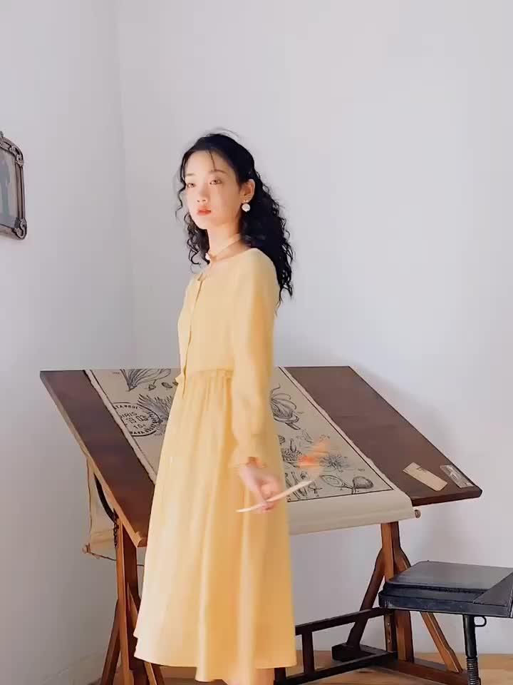 安妮陈黄色小清新连衣裙