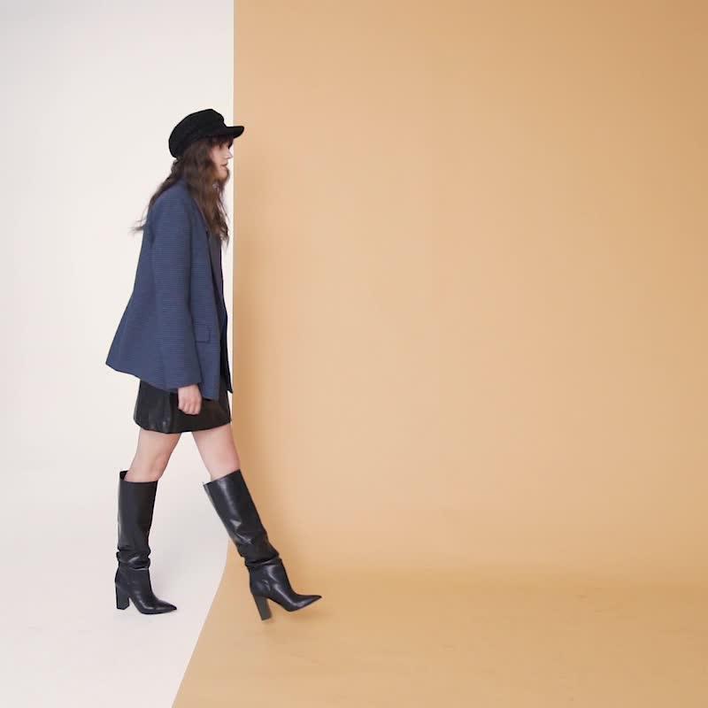 UR2020春季新品青春女装复古时尚拼色格纹翻领西装YU41R1CN2000