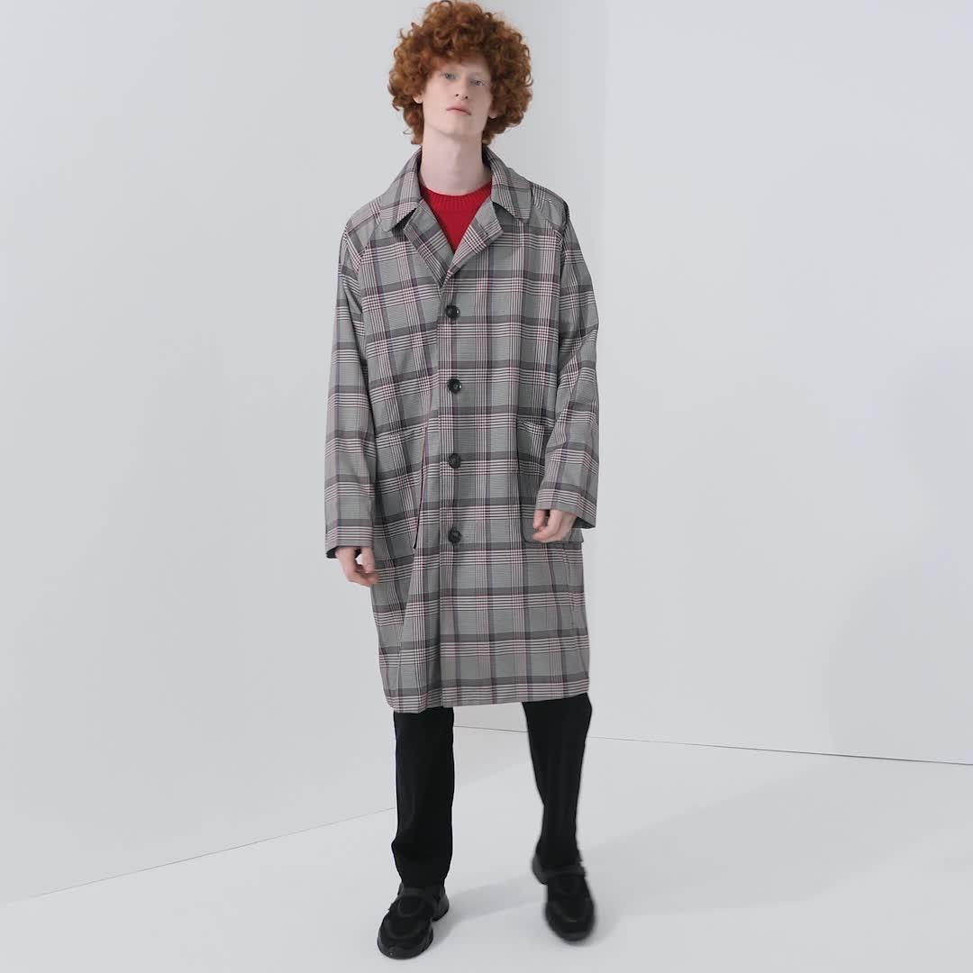 UR2020春季新品男装休闲风拼色格纹大衣MF07S1GN2000